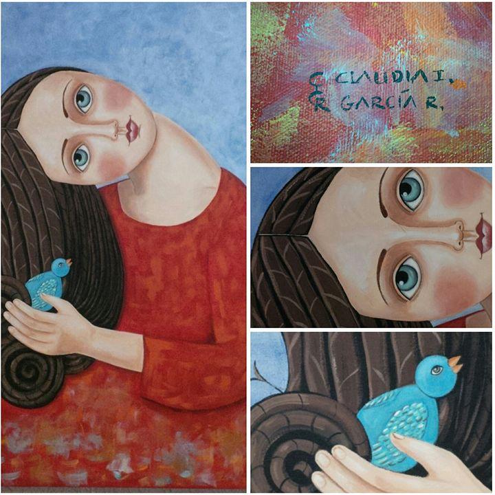 Girl and Bird Acrylic on Canvas - Lamat Galeria