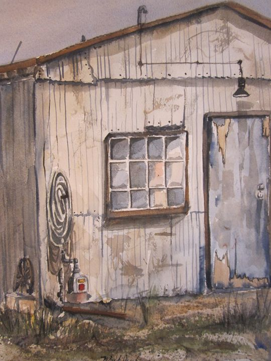 Old Bldg., Redwood City, Ca. 582 - Mark Jenkins Watercolors