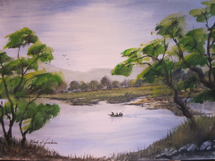 Fishing the River 549 - Mark Jenkins Watercolors