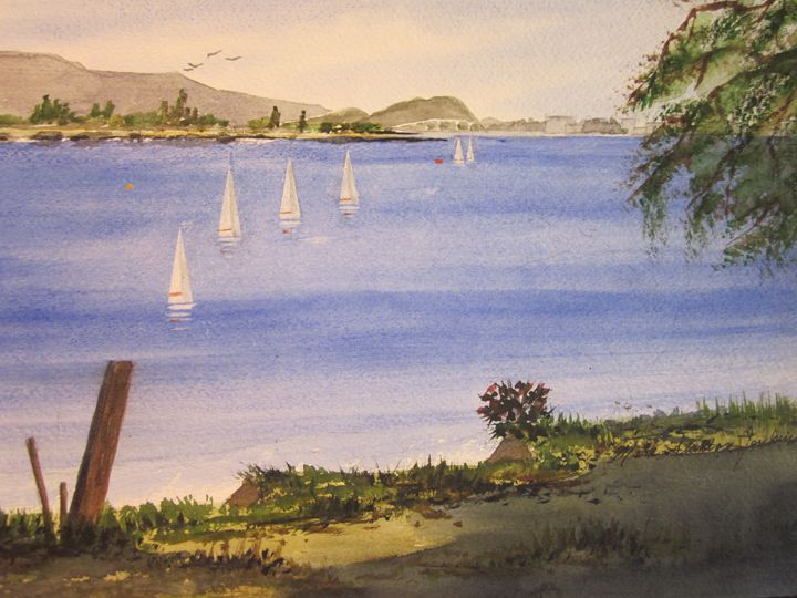 Redwood City Marina 272 - Mark Jenkins Watercolors