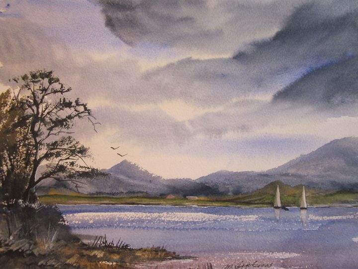 Sailing with a Friend 347 - Mark Jenkins Watercolors