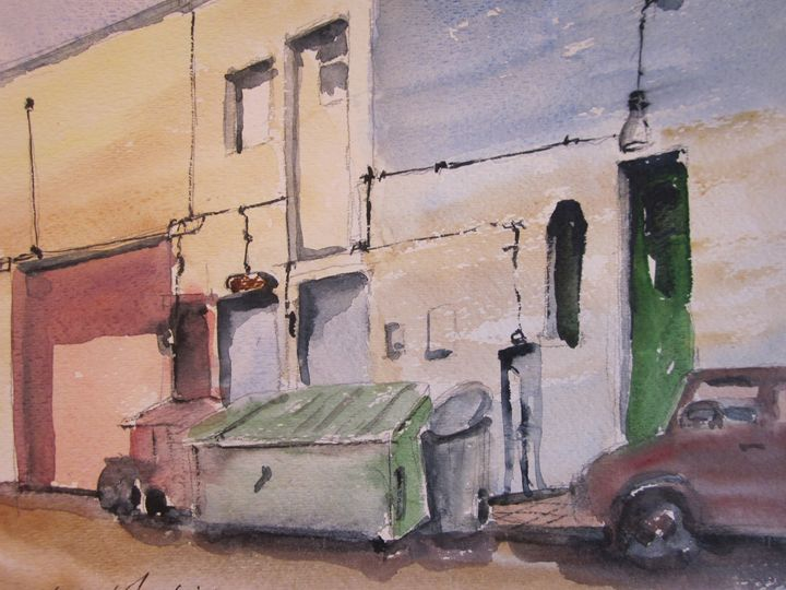 Back Alley, Redwood City 354 - Mark Jenkins Watercolors