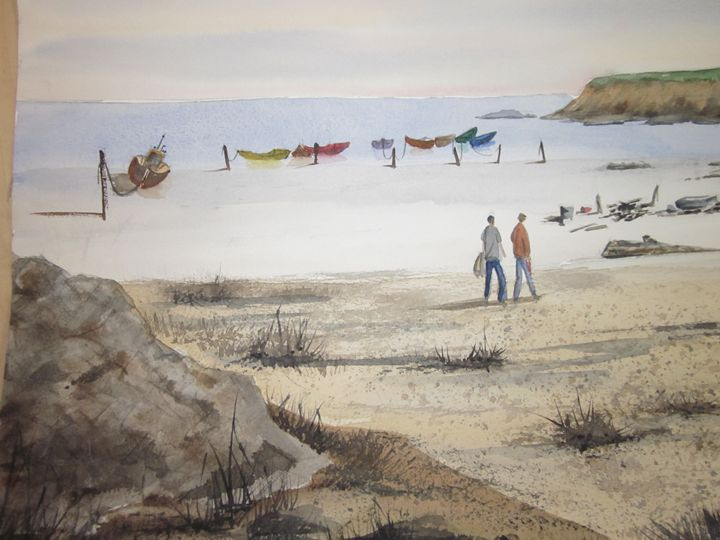 Beach and Boats 13 - Mark Jenkins Watercolors