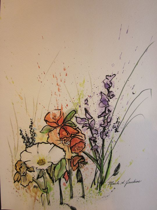 Flowers, Pen & Ink 396 - Mark Jenkins Watercolors