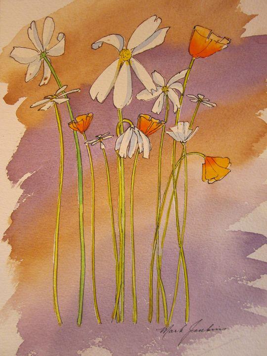 Flowers, Pen & Ink 452 - Mark Jenkins Watercolors