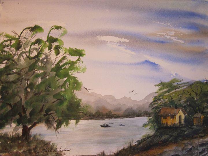 Lake Fishing 466 - Mark Jenkins Watercolors
