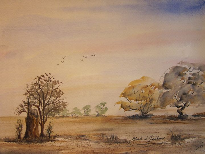 Field with Trees 488 - Mark Jenkins Watercolors