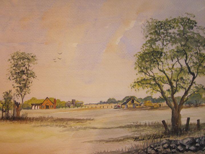 Baling Hay 502 - Mark Jenkins Watercolors