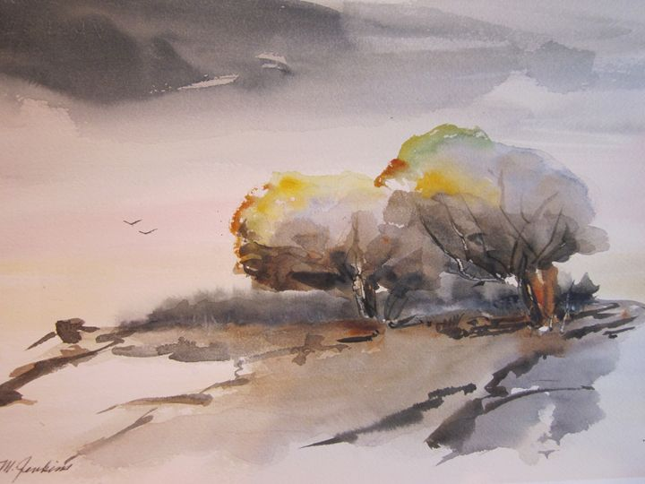 Hillside and Field 544 - Mark Jenkins Watercolors