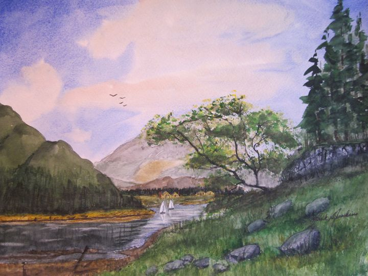 River Scene 546 - Mark Jenkins Watercolors