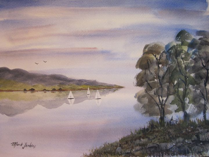 Bay Sailing  551 - Mark Jenkins Watercolors