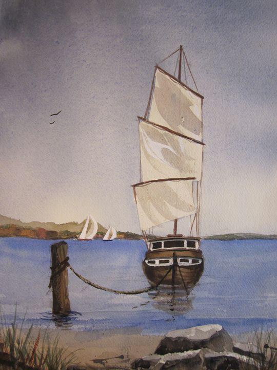 Sailboats 579 - Mark Jenkins Watercolors