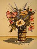 flowers, bamboo vase
