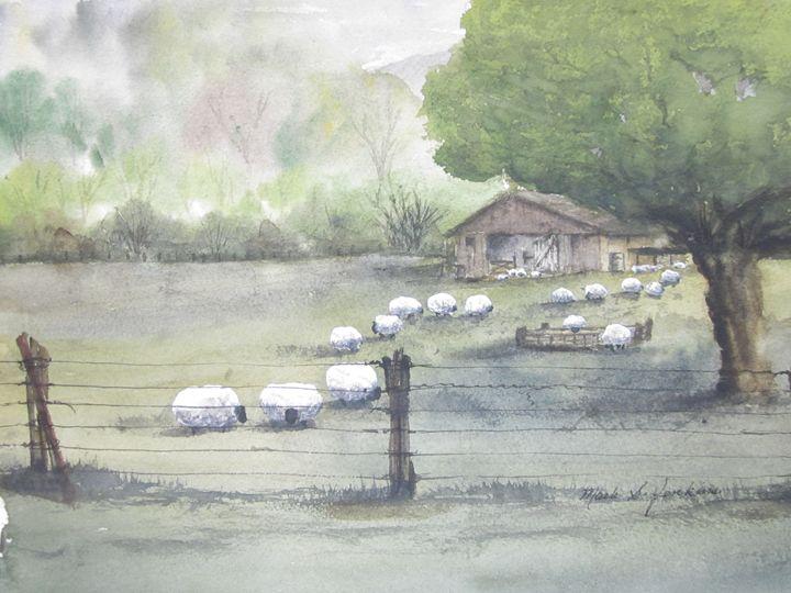 Sheep ranch 9 - Mark Jenkins Watercolors