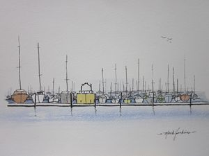 Redwood City Marina 312 - Mark Jenkins Watercolors