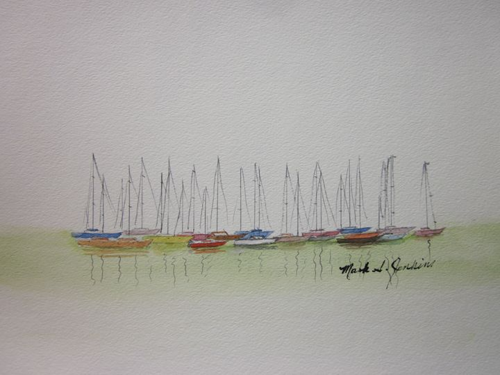 Redwood City Marina 380 - Mark Jenkins Watercolors