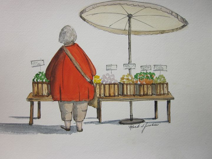 Flea Market, Pen & Ink 381 - Mark Jenkins Watercolors