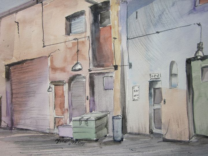 Back Alley, Redwood City, CA 388 - Mark Jenkins Watercolors