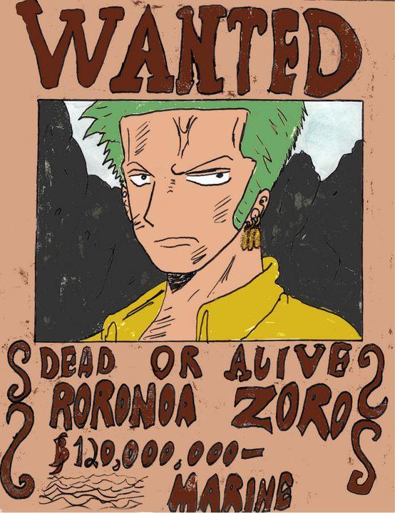 Zoro Wanted Poster - Anime Art