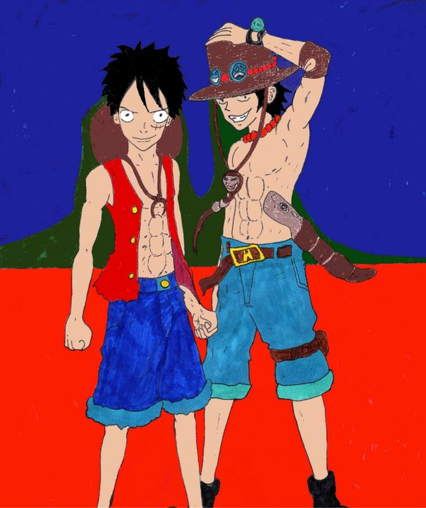 Luffy and Ace - Anime Art