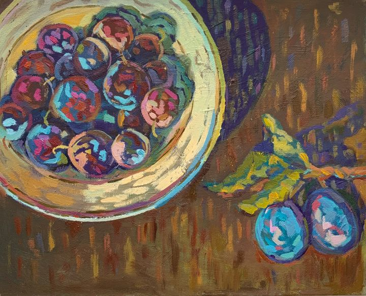 Plate with mouth-watering plums - SychEva