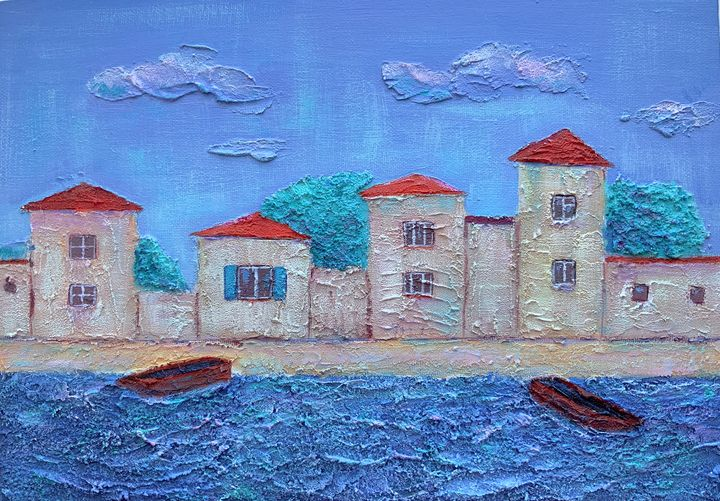 Houses by the sea with boats - SychEva