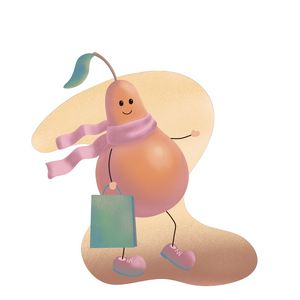 Lucky pear goes with a bag