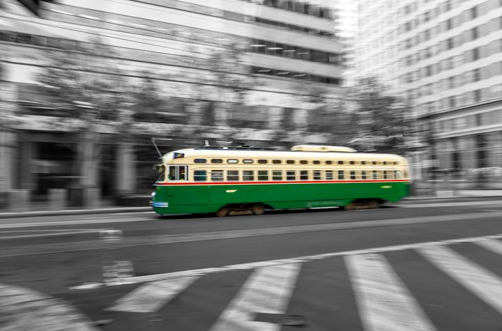 green trolley car bw - Jonathan Nguyen
