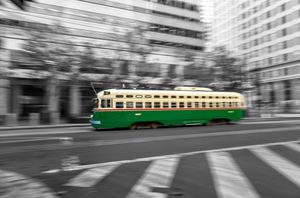 green trolley car bw