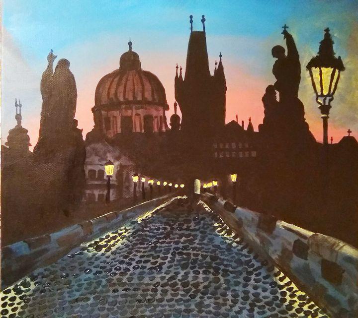 Sunset in Prague - Lukas Sebek paintings