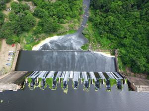 Aerial photo of active dam wall