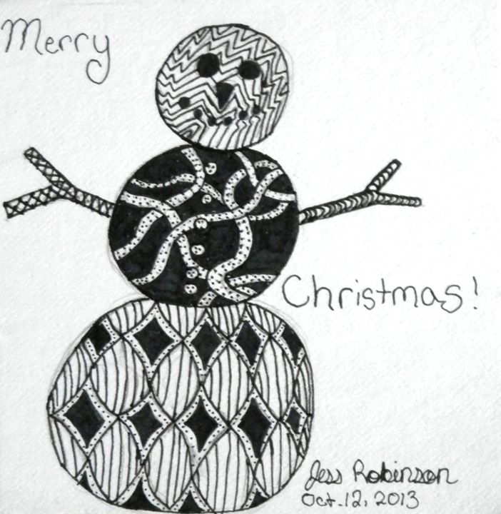 Christmas Snowman Zentangle - SteamAngel Gallery - Drawings ...