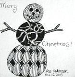 3x3 Zentangle Snowman