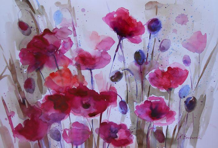 Abstract, modern art. Red Anemones - Natalia Browarnik. EFN  Modern Art Gallery