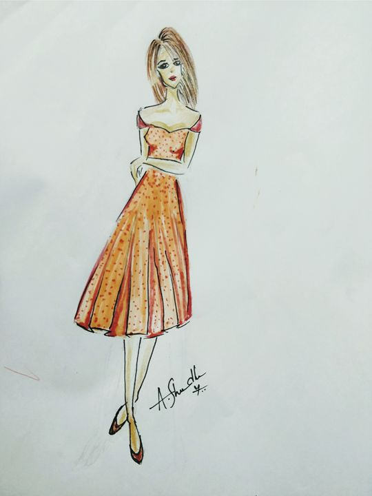 Fashion sketch - Fashion notebook by shraddha