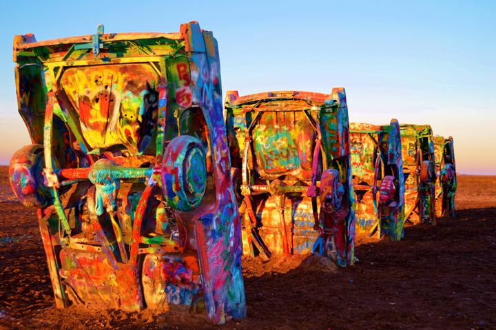 Cadillac Ranch in Vibrant Color - T. Reinhard