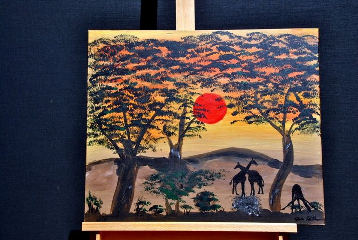 African Sunset - Acrylic Canvas by J.P.