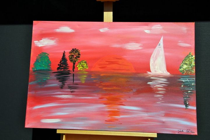 Pink Sunset - Acrylic Canvas by J.P.
