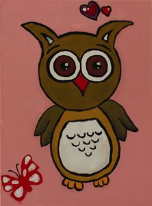 Wall Art: Owl in Pink
