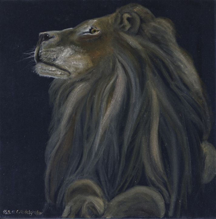 Proud lion on black velvet - Claudia Luethi alias Abdelghafar