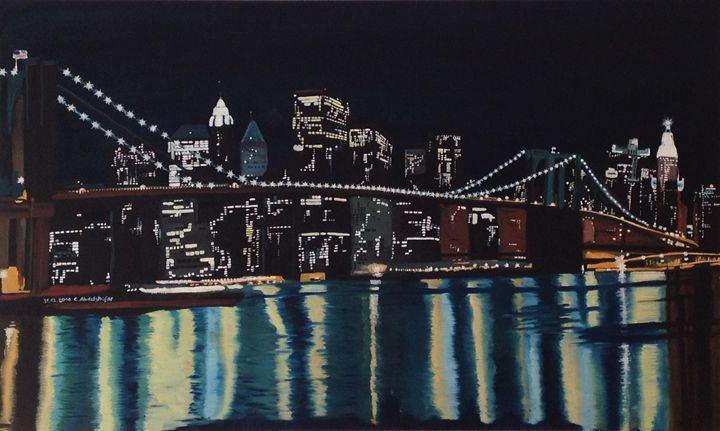 New Yorks Brooklin Bridge by night - Claudia Luethi alias Abdelghafar
