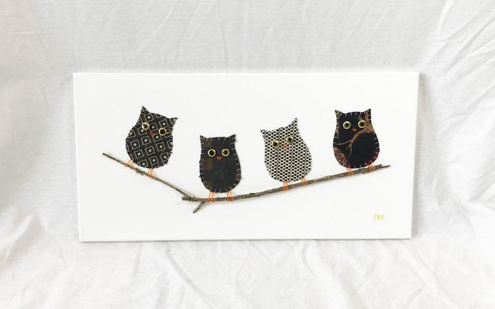 Owls on Branch #8 - Erin Brie Art