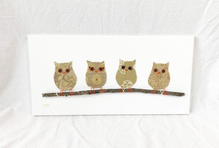Owls on Branch #19 - Erin Brie Art