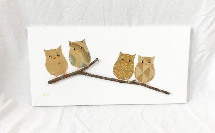 Owls on Branch #20 - Erin Brie Art