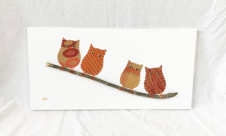 Owls on Branch #21 - Erin Brie Art