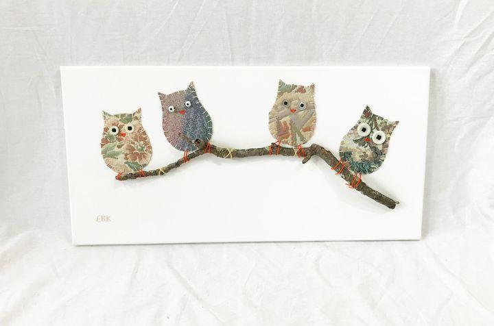 Owls on Branch #11 - Erin Brie Art