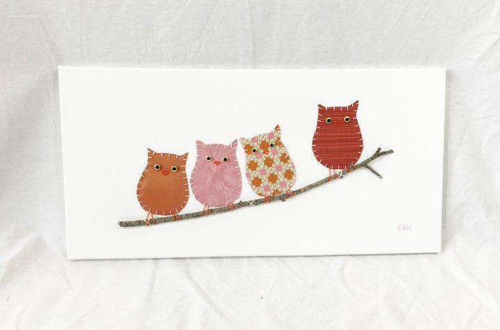 Owls on Branch #23 - Erin Brie Art