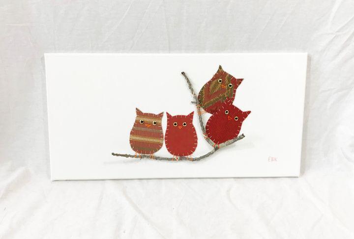 Owls on Branch #24 - Erin Brie Art