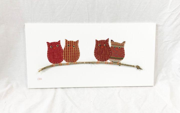 Owls on Branch #25 - Erin Brie Art