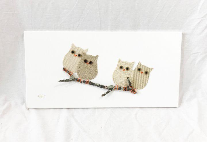 Owls on Branch #26 - Erin Brie Art
